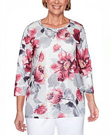 Alfred Dunner Women's Plus Size Madison Avenue Floral Lace Center Top