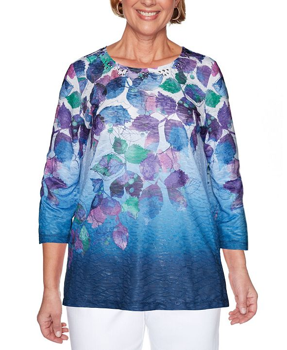 Alfred Dunner Women's Plus Size Classics Ombre Leaves Top