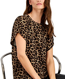 Plus Size Leopard-Print Petal-Sleeve Top