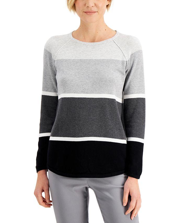 Karen Scott - Plus Size Thea Colorblocked Cotton Sweater