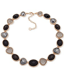 """Gold-Tone Jet Stone Collar Necklace, 16"""" + 3"""" extender"""