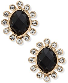 Gold-Tone Black Stone Clip-On Button Earrings