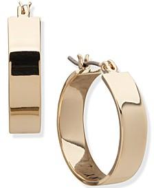 "Gold-Tone Small Flat Hoop Earrings, 0.87"""