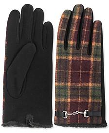 INC Horse-Bit-Buckle Plaid Gloves, Created for Macy's