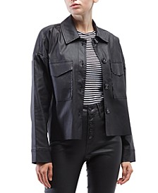 Coated Faux-Leather Shirt Jacket