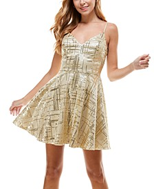 Juniors' Glitter Skater Dress