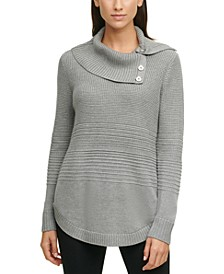 Buttoned Cowlneck Curved-Hem Sweater