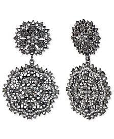 Hematite-Tone Crystal & Imitation Pearl Cluster Drop Earrings
