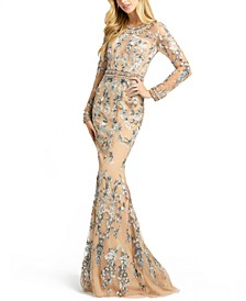 Embellished Illusion-Sleeve Gown