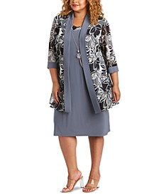 Plus Size 2-Pc. Printed Jacket & Necklace Dress Set