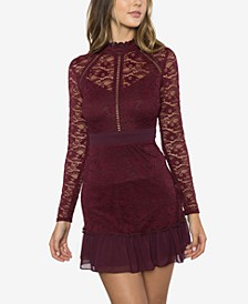 Juniors' Lace Ruffle Slim Dress