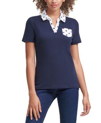 Cotton Star-Print Johnny-Collar Polo