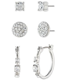 Crystal 3-Pc. Set Stud & Hoop Earrings