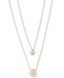 "Scattered Crystal Adjustable Two-Row Pendant Necklace, 16 + 3"" extender"