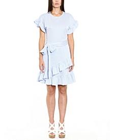 Striped Ruffled Faux-Wrap Dress, Regular & Petite Sizes