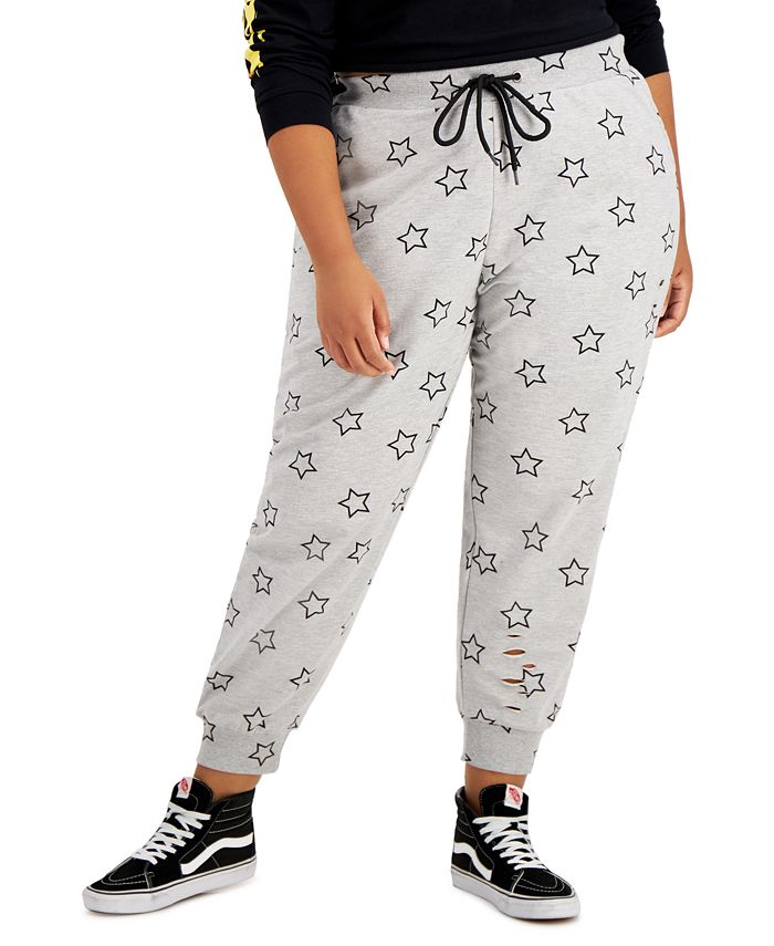 FULL CIRCLE TRENDS - Trendy Plus Size Ripped Jogger Pants