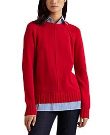 Layered Cotton Sweater, Regular & Petite Sizes