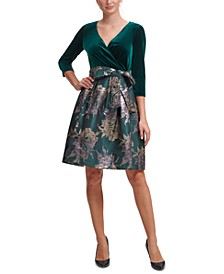 Velvet & Jacquard Fit & Flare Dress