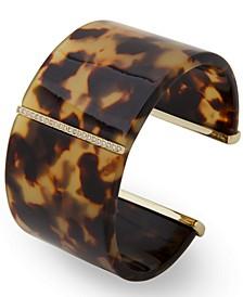 Gold-Tone Pavé & Tortoise-Look Cuff Bracelet