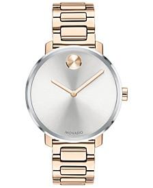 Women's Swiss BOLD Carnation Gold-Tone Stainless Steel Bracelet Watch 34mm