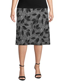 Plus Size Tropical-Print Skirt