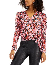 Floral-Print Tie-Hem Top, Created for Macy's
