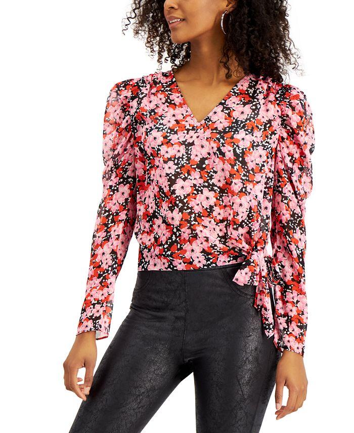 Bar III - Floral-Print Tie-Hem Top