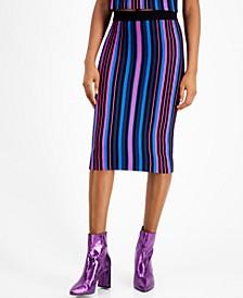 Metallic Striped Pencil Skirt, Metallic Striped Pencil Skirt
