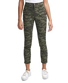 Camo-Print Cropped Skinny Pants