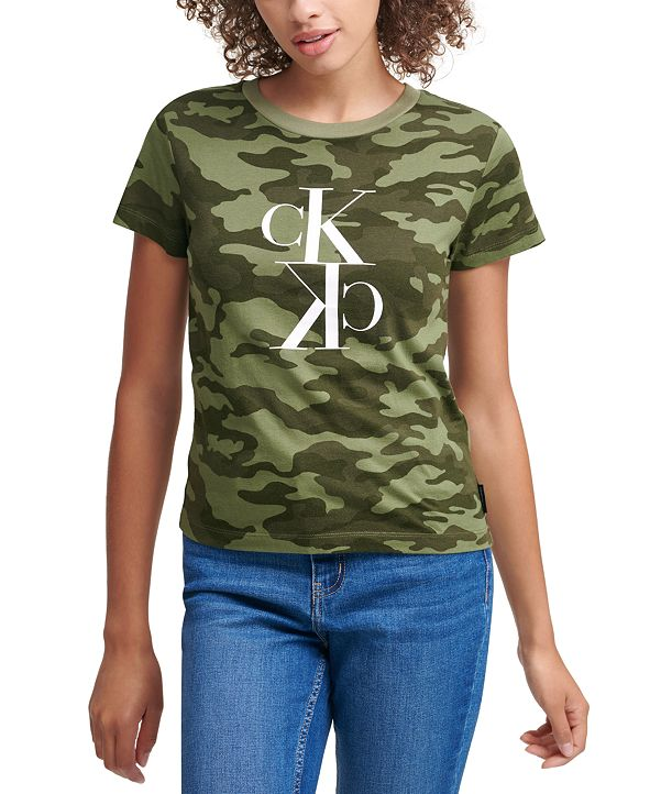 Calvin Klein Jeans Camo-Print Logo T-Shirt