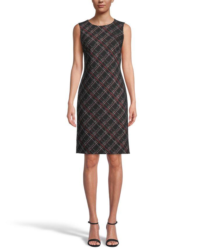 Kasper - Plaid Jacquard Knit Dress