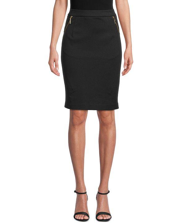 Kasper Ponté-Knit Zip-Pocket Skirt