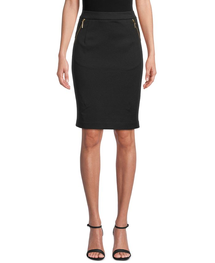 Kasper - Ponté-Knit Knee-Length Zip-Pocket Skirt