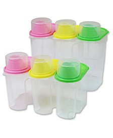 Vintiquewise Bpa-Free Plastic Food Saver, Kitchen Food Cereal Storage Containers with Graduated Cap, Set of 3 Large and 3 Small