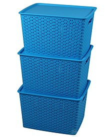 Vintiquewise Plastic Storage Container Box with Lid, Set of 3