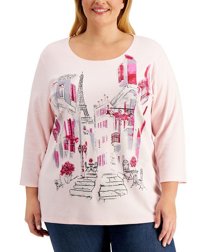 Karen Scott - Plus Size Cityscape Printed Top