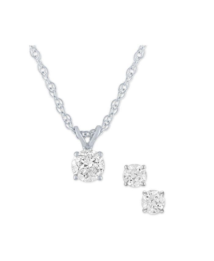 Macy's - 2-Pc. Set Diamond Pendant Necklace & Matching Stud Earrings (1/2 ct. t.w.) in 14k Gold