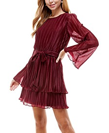 Juniors' Pleated Bell-Sleeve Dress
