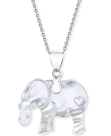 """Mother-Of-Pearl Elephant 18"""" Pendant Necklace in Sterling Silver"""