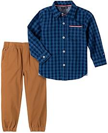 Baby Boys Woven Shirt Khaki Jogger Set