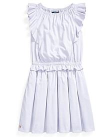 Polo Big Girl Ruffled Cotton Oxford Dress