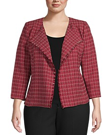 Plus-Size Tweed Open-Front Jacket