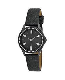 Women's Black Alloy Strap Baguette Stone Bezel Watch, 30mm