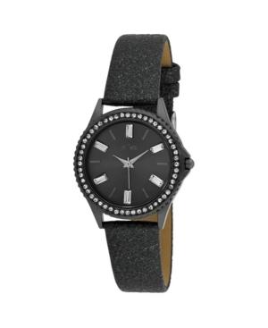 Women's Black Alloy Strap Baguette Stone Bezel Watch