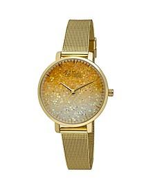 Women's Gold-Tone Alloy Bracelet Glitter Dial Mesh Watch, 32mm