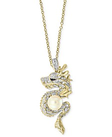 "EFFY® Cultured Freshwater Pearl (8mm) & Diamond (5/8 ct. t.w.) Dragon 18"" Pendant Necklace in 14k Gold"