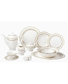 57 Piece Bone China Charlotte Dinnerware Set, Service for 8