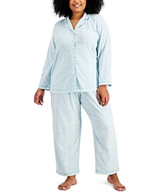 Plus Size Cozy Fleece Pajama Set, Created for Macy's