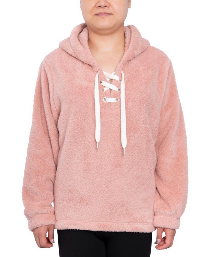Derek Heart - Trendy Plus Size Plush Lace-Up Hoodie