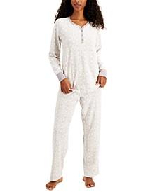Thermal Fleece Printed Pajama Set, Created for Macy's